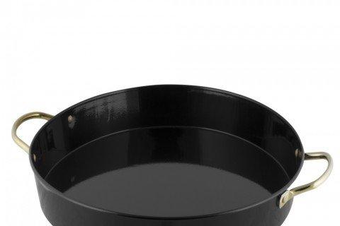 11. Bandeja metal negra asas doradas 40 cm