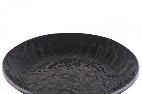 7. Bandeja melamina redonda negra curvas 40 cm